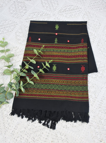 Embroidered & Mirrored Blanket/Shawl - Jet Black with Ruby/Green/Ochre Pattern