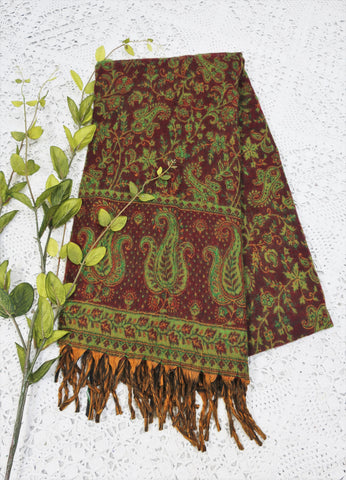 Garnet & Emerald Paisley Floral Indian Shawl/Blanket