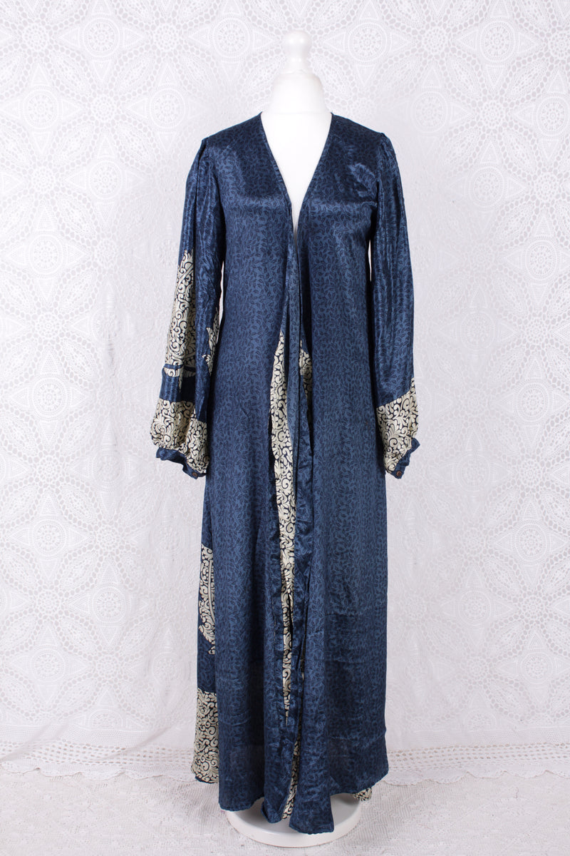 Lola Long Wrap Dress - Vintage Indian Sari - Midnight Blue & Cream (S/M)