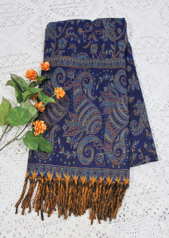 Navy, Turquoise & Gold Paisley Floral Indian Shawl/Blanket