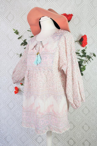 Indian Peacock Paisley Smock Top - Ivory, Grey & Pink Cotton - Size M/L