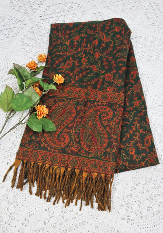 Forest Green, Ruby & Gold Paisley Floral Indian Shawl/Blanket
