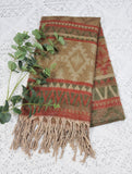 Beige, Tan, Red & Green Aztec Indian Shawl/Blanket