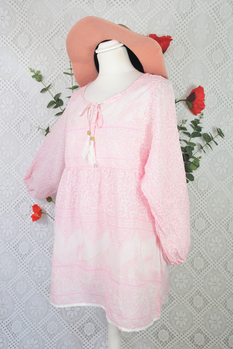 Indian Peacock Paisley Smock Top - Ivory & Pastel Pink Cotton - Size S/M
