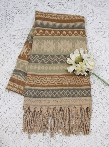 Beige, Pewter & Toffee Aztec Indian Shawl/Blanket