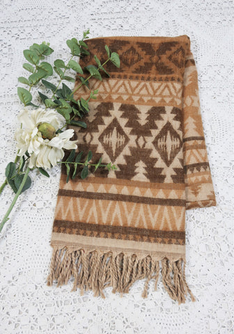 Tan, Cream & Cedar Aztec Indian Shawl/Blanket