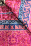 Fuchsia & Navy Geometric & Floral Indian Shawl/Blanket