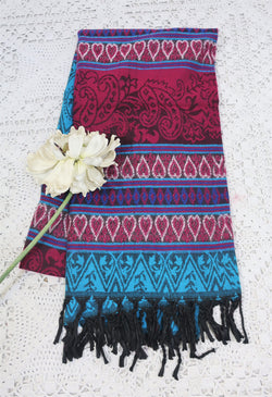 Magenta Pink & Turquoise Hearts & Flowers Indian Shawl/Blanket