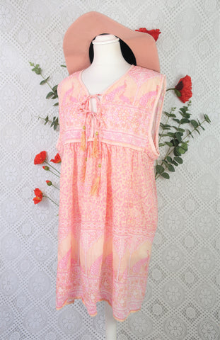 Indian Peacock Smock Top - Peach & Pink Cotton - Size S/M