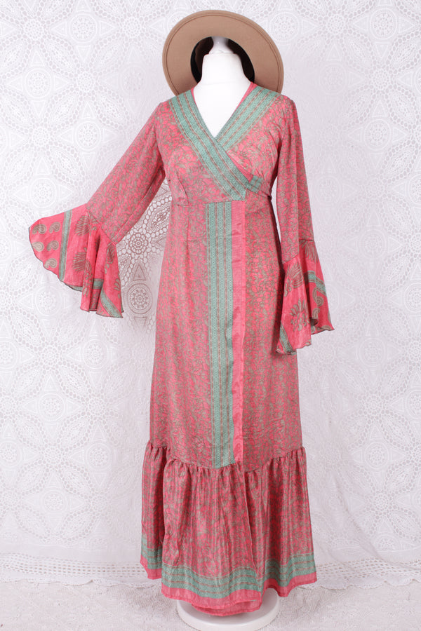 Sylvia Wrap Dress - Vintage Indian Sari - Coral Pink Floral (XS - S)