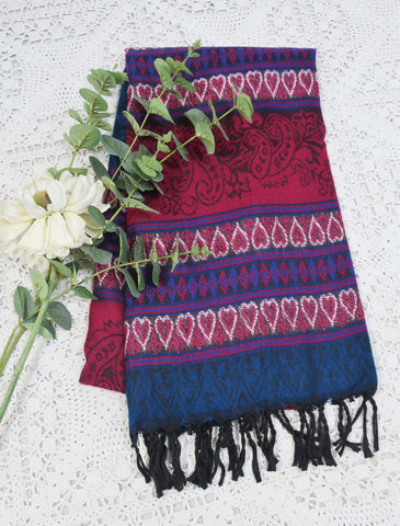Cerise Pink & Teal Hearts & Flowers Indian Shawl/Blanket