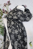 Black & White Paisley Floral Indian Shawl/Blanket