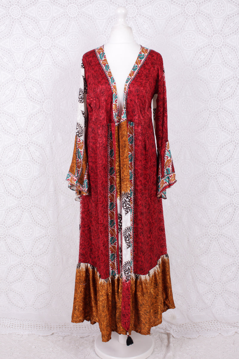 SALE - Sylvia Wrap Dress - Vintage Indian Sari - Ivory & Crimson Shimmer (XS - S)