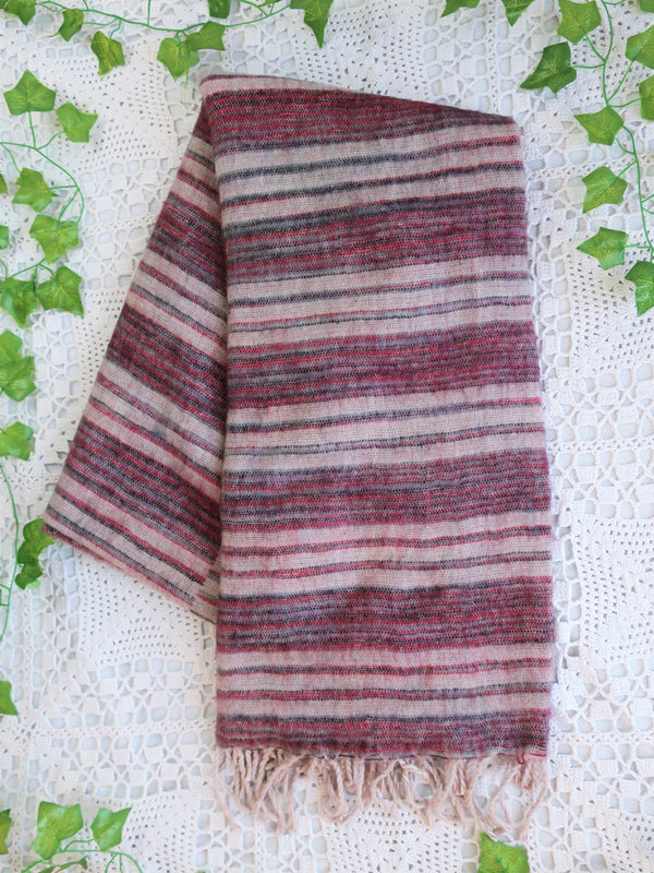 Mink, Cherry & Grey Reversible Stripe Indian Shawl/Blanket