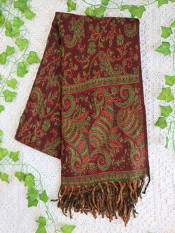 Cherry & Apple Reversible Paisley Indian Shawl/Blanket
