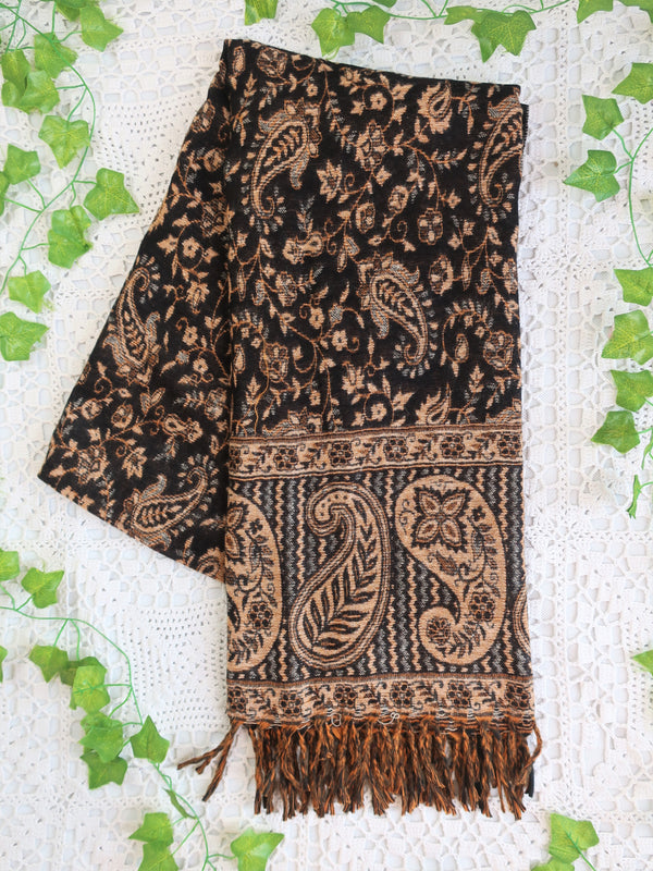 Onyx & Champagne Reversible Paisley Indian Shawl/Blanket