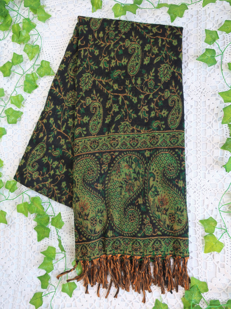 Charcoal & Emerald Reversible Paisley Indian Shawl/Blanket