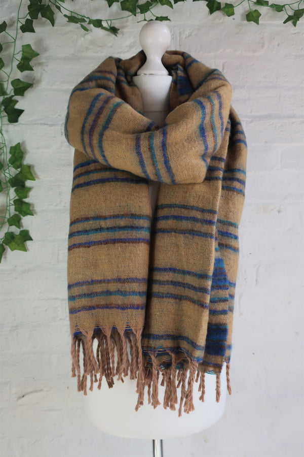 Sand, Lapis & Cerulean Reversible Stripe Indian Shawl/Blanket