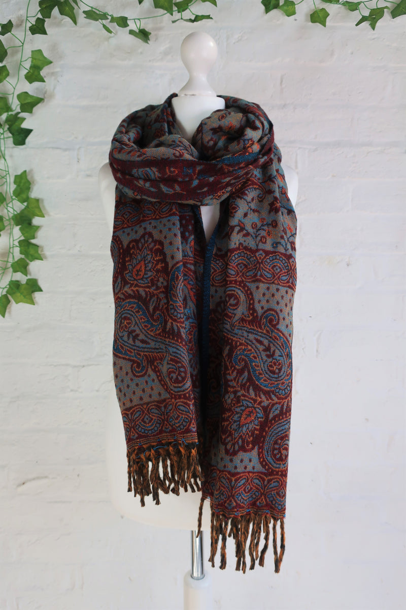 Wine & Lapis Reversible Paisley Indian Shawl/Blanket