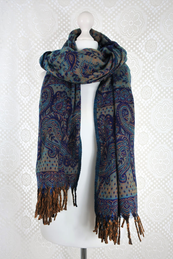 Royal Blue & Gold Reversible Paisley Indian Shawl/Blanket