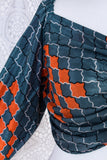 Ariel Top - Vintage Indian Sari - Slate & Orange Graphic with Sparkles - S/M