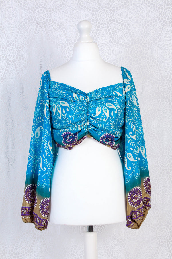 Ariel Top - Vintage Indian Sari - Blue, Purple & Cream Floral - S/M