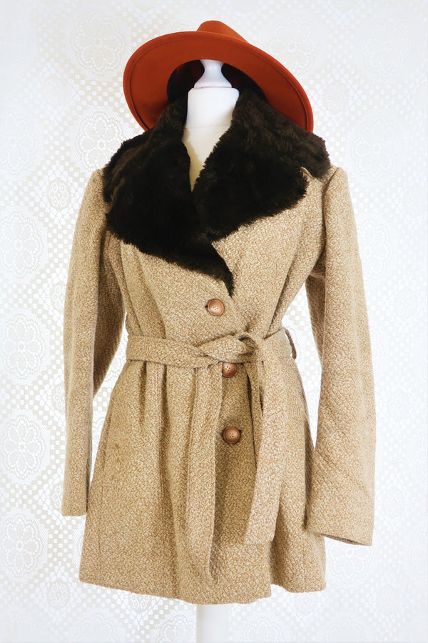 Vintage Camel Woollen Coat with Faux Fur Collar - Size S