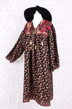 Daphne Smock Dress - Vintage Indian Sari - Jet, Rose Gold & Red - M/L