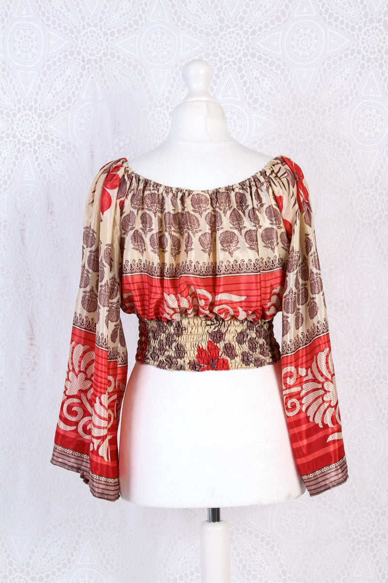 Scorpio Top - Vintage Indian Sari - Golden Cream & Candy Red - Free Size