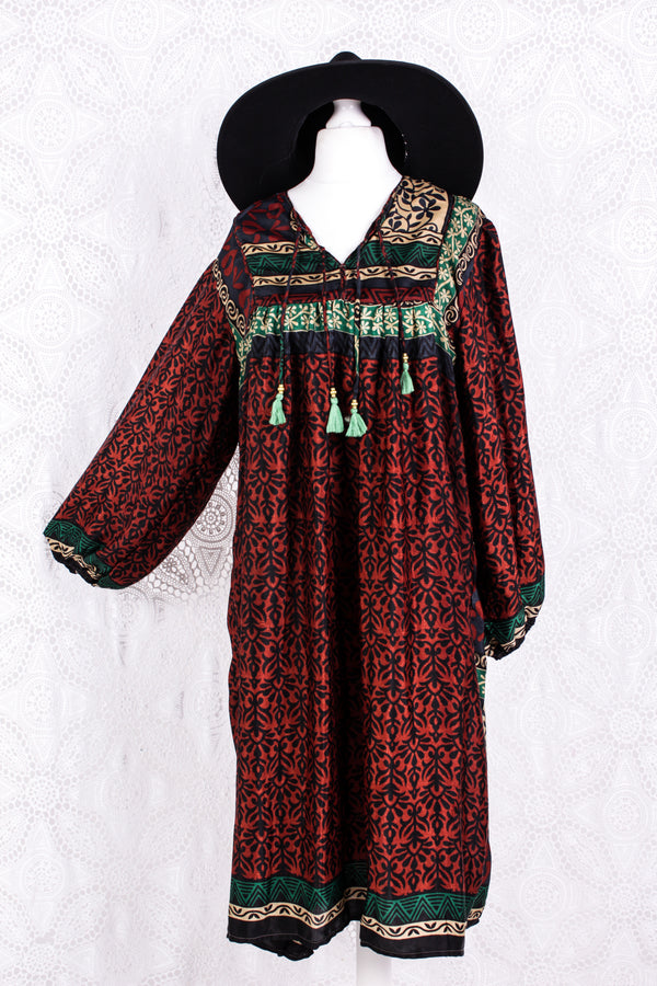 Daphne Smock Dress - Vintage Indian Sari - Russet Navy & Green Floral - M/L