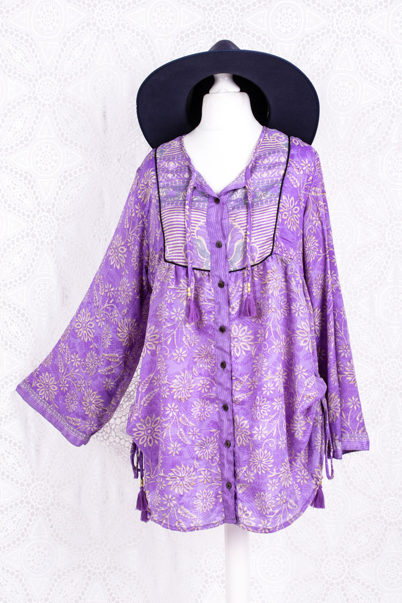 Jude Tunic Top - Vintage Indian Sari - Lilac & Cream Floral (M/L)