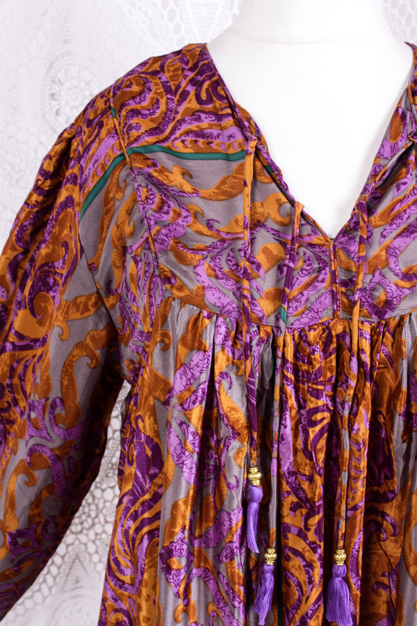 Daphne Smock Dress - Vintage Indian Sari - Silver Purple & Amber - M/L