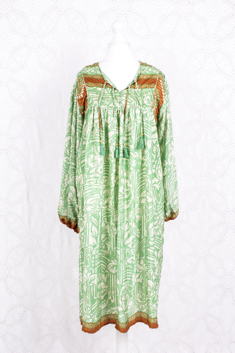 Daphne Smock Dress - Vintage Indian Sari - Spring Green Floral - M/L