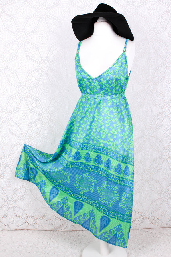 Jamie Dress - Indian Sari Slip Dress - Blue & Neon Green - Size S/M