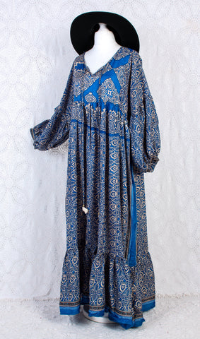 Poppy Smock Dress - Vintage Sari - Blue & Cream Tile Print - XL