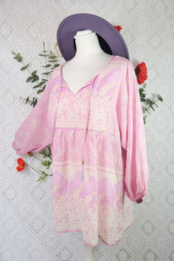 Indian Peacock Paisley Smock Top - Muted Mauve Cotton - Size M/L