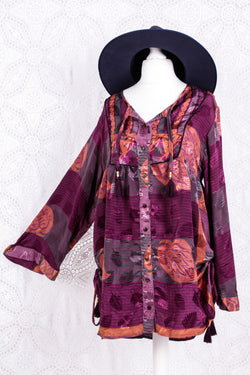 Jude Tunic Top - Vintage Indian Sari - Boysenberry & Gold (M/L)