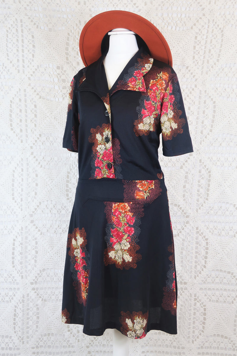 Vintage Mini Dress - Pitch Black with Pink Floral - Size XS/S