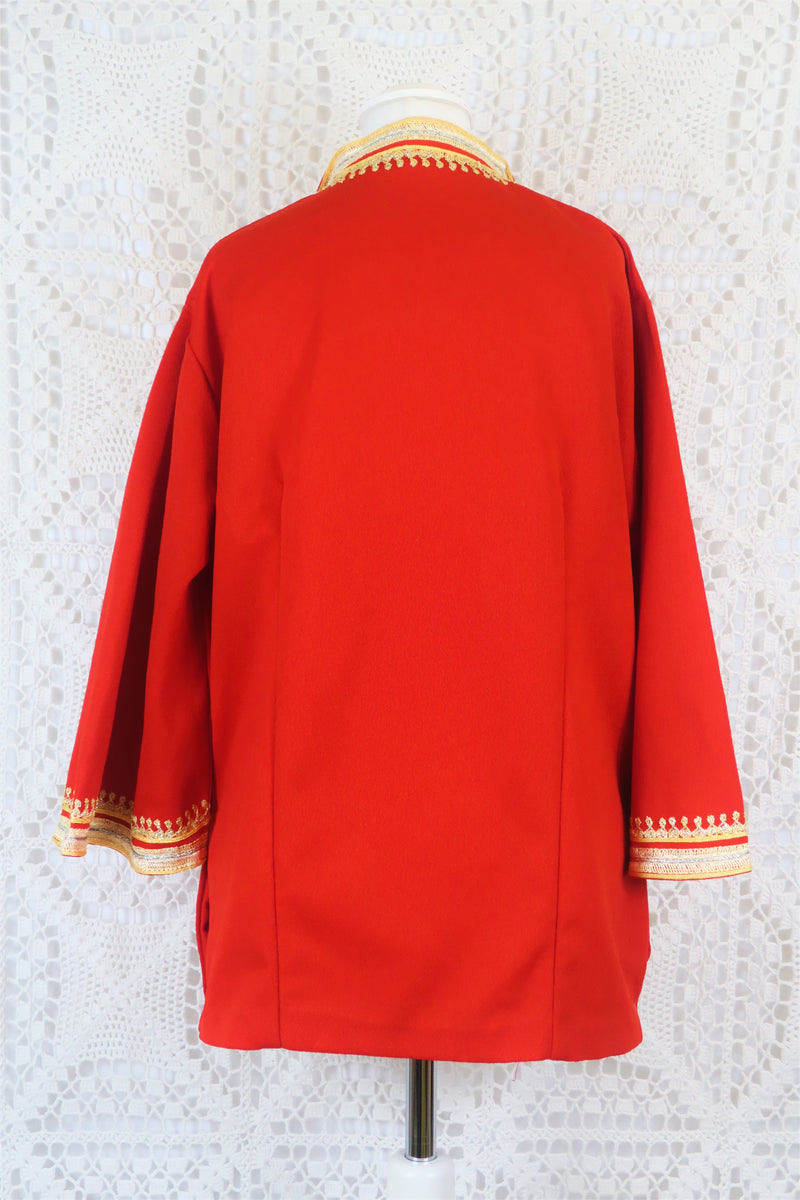 Vintage Button Down Tunic - Regal Red with Gold Embroidery - Size L