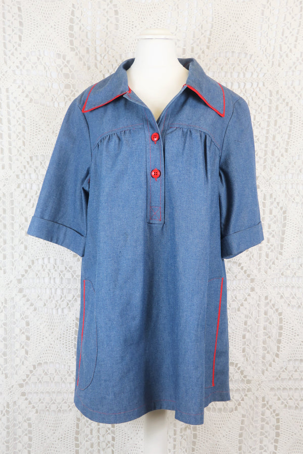 Vintage Tunic Top - Indigo Linen with Red Accents - Size L