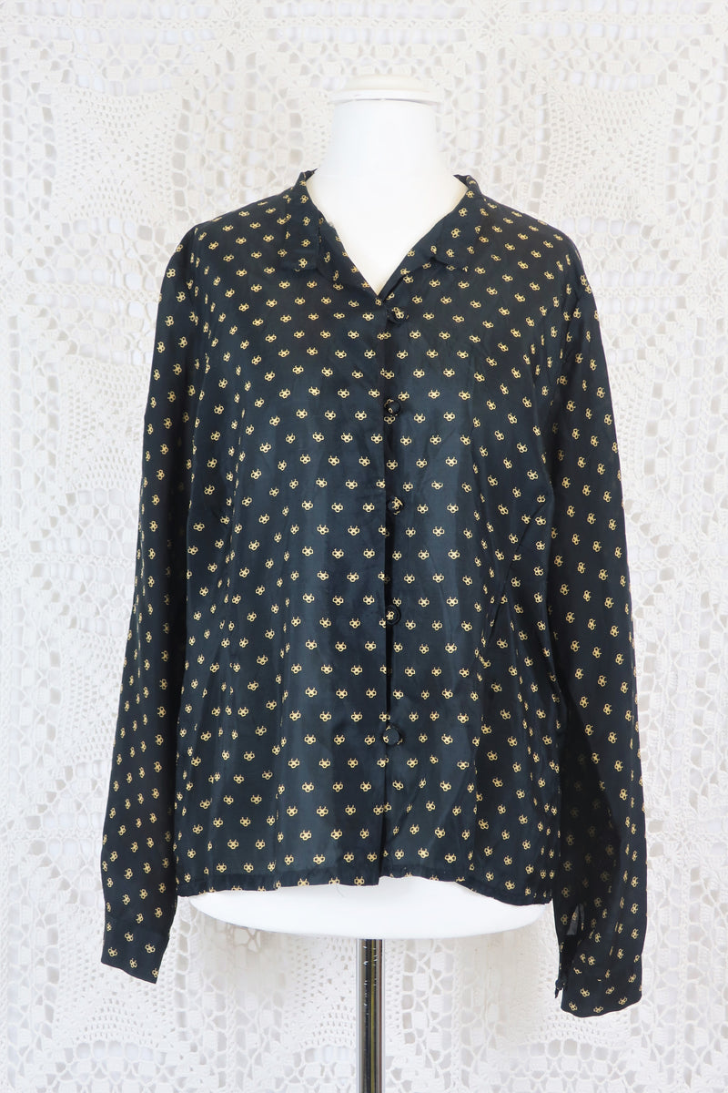 Vintage Mandarin Style Shirt - Onyx & Champagne Graphic - Size L