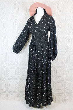 Vintage Maxi Dress - Inky Black with White Floral - Size XXS