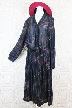 Vintage Midi Dress - Sheer Black Abstract with Metallic Thread - Free Size