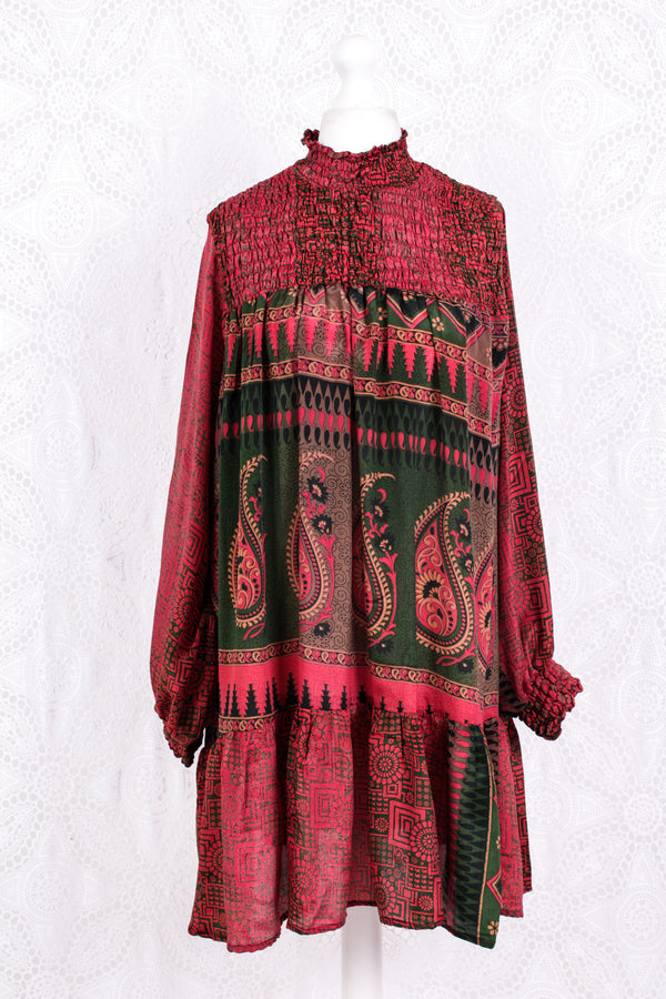 Mona Mini Dress - Vintage Indian Sari - Punch & Emerald Bold Paisley - Free Size