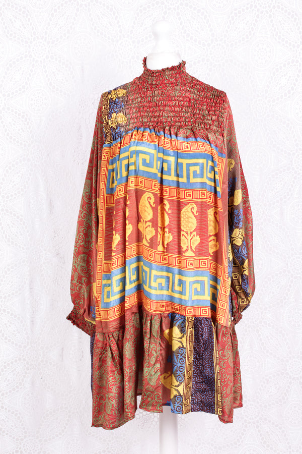Mona Mini Dress - Vintage Indian Sari - Red, Cobalt & Bright Yellow Paisley - Free Size