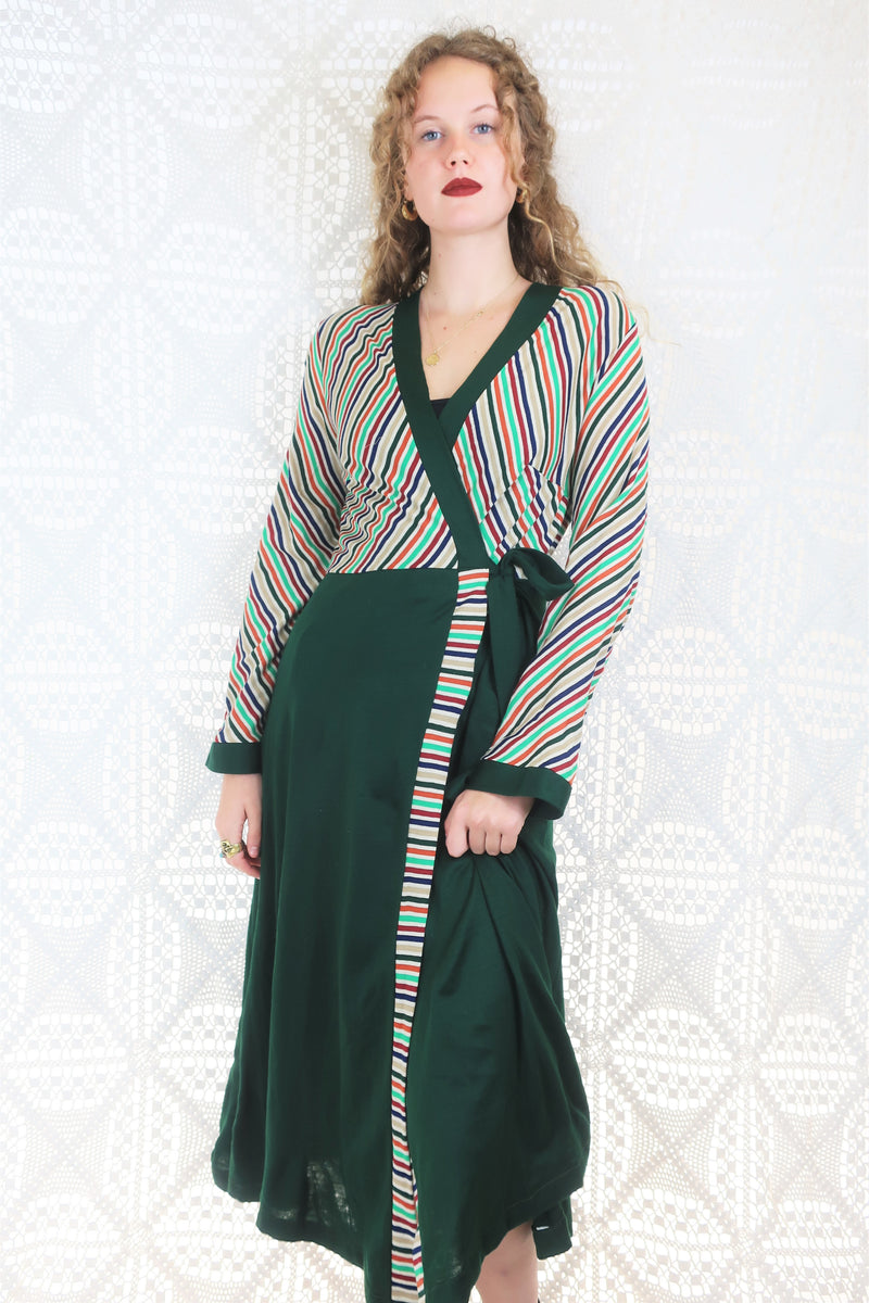 Vintage Housecoat / Wrap Dress - Green & Colourful Stripes - Size XS/S