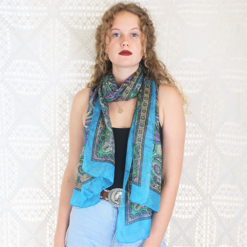 Pure Silk Indian Scarf - Yellow Multi