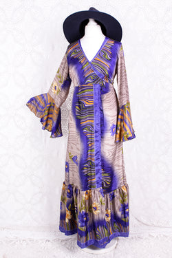 Sylvia Wrap Dress - Vintage Indian Sari - Fawn, Violet & Gold Floral (XS - S)