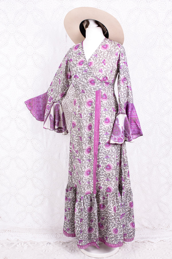 Sylvia Wrap Dress - Vintage Indian Sari - Ice & Pink Pretty Floral (XS - S)