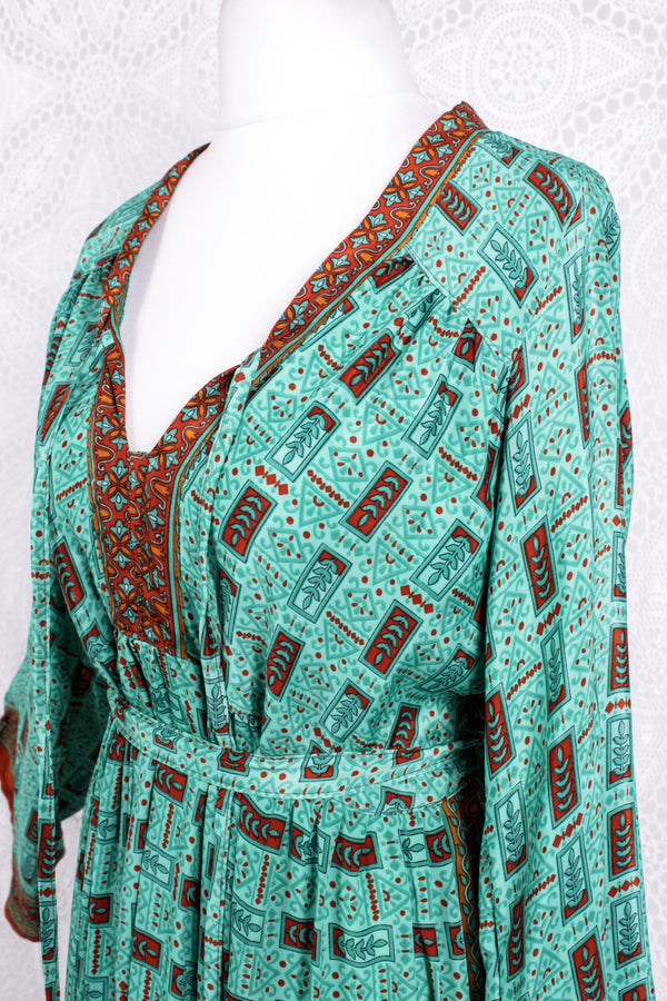 Gaia Kaftan Dress - Vintage Indian Sari - Aqua & Burnt Orange - S/M